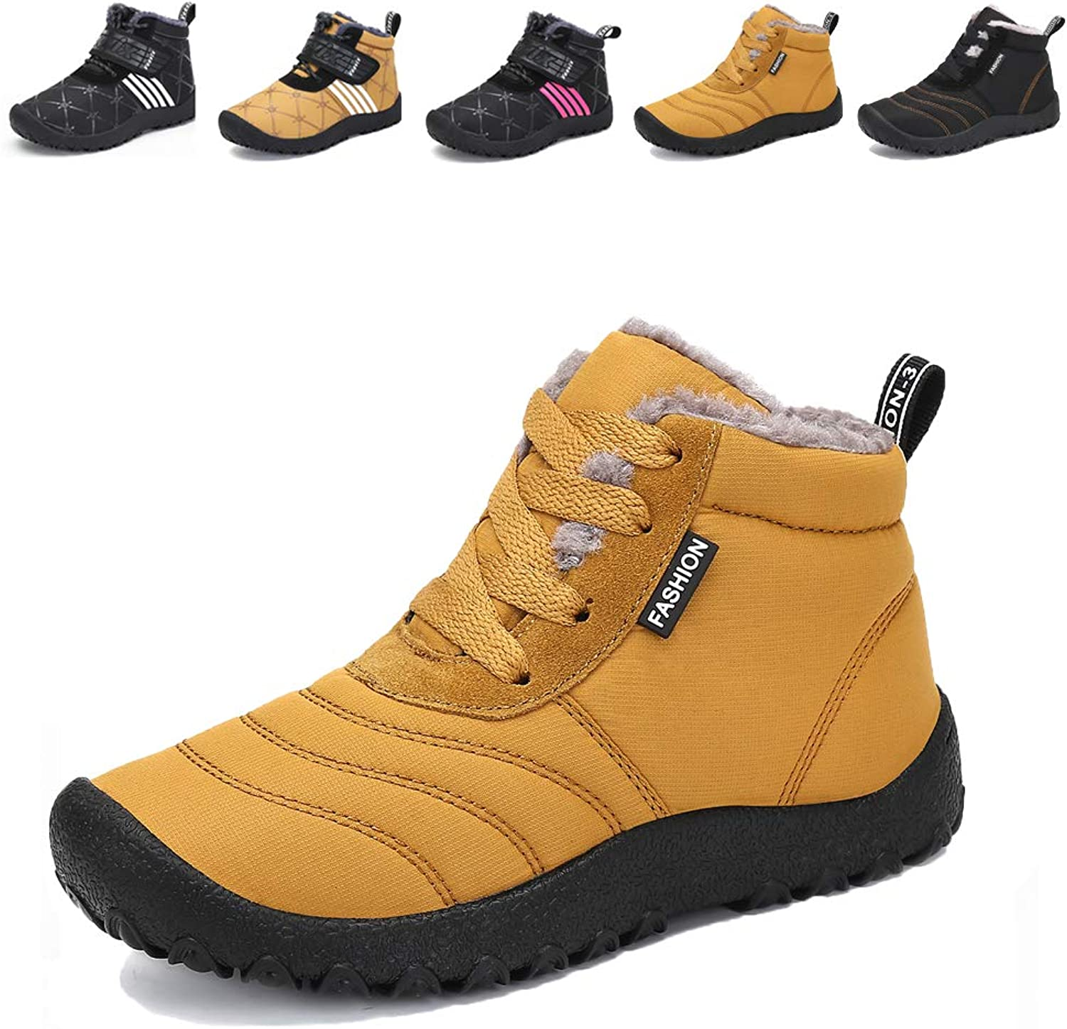 49d0676d54 Boys Girls Winter shoes Snow Boots Fur Lined Outdoor Slip On Ankle ...