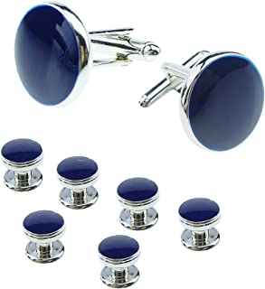 Mens Cufflinks and Studs Set Formal Business Shirt Parts Jewelry Box Round Cuff Link Buttons XDS