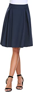 Women's High Waist Flared A line Skirt Pleated Midi Skirt