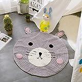 Here&There Baby Teppich Matte Kinderteppich Kinderzimmer Schlafzimmer Wohnzimmer Boden Tier Babyzimmer Mädchen Dekoration Spielteppich Handball Ballmatte (80 x 80 cm, Bär)