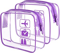 2pcs/pack Lermende Clear Toiletry Bag TSA Approved Travel Carry On Airport Airline Compliant Bag Quart Sized 3-1-1 Kit Luggage Pouch