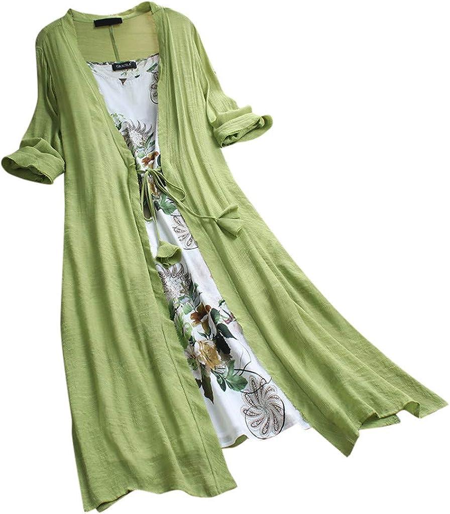 Plus Size Summer Floral Linen Maxi Dress Women NRUTUP-Dress Two-Piece Set Sleeveless Aline Long Dress Cardigan Holiday