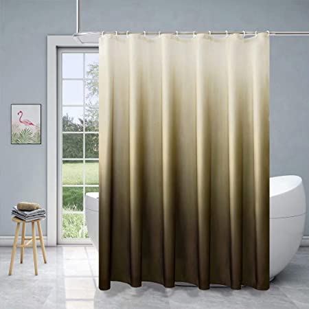 Xikaywnt Fabric Ombre Shower Curtain for Bathroom - Waterproof Bathroom Curtain with 12 Hooks, 70 x 72 Inch Brown