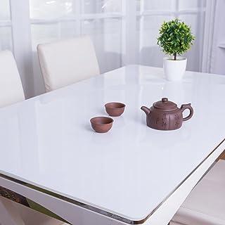 Mantel de Color sólido del PVC,Cristal Opaco Tablero Vidrio Suave Mesa Cubierta no-encogible no deformable Mesa de Comedor Mesa de té Mesa Protector-Blanco 70x120cm(28x47inch)