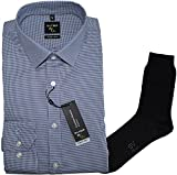 OLYMP Herrenhemd No6 six, super Slim, Urban Kent, blau, Faux Uni + 1 Paar hochwertige Socken, B&le