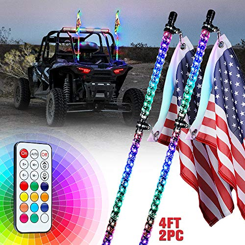Xprite 4ft(1.2M) Spiral LED Whip Lights RGB Flag Pole with Remote Control for UTV ATV Truck Polaris RZR XP 1000 Can am Maverick X3 Side by Side Quad Dune Buggy - 2PCS
