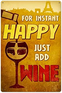 Harvesthouse Happy Wine Vintage Metal Sign Garage Signs Home Decor Tin Art Decor 12 x 16 Inches