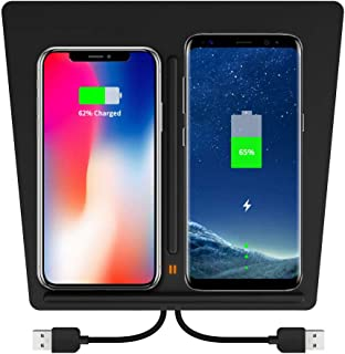 Wireless Charger for Tesla Model 3, KEEZINGTesla M3 Center Console Charging Pad with Dual USB Ports,Tesla Model 3 Wireless Charger for Any Qi Enable Phone
