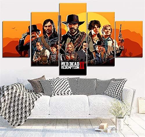 LCCWLH Leinwanddrucke 5 Stücke Spiel Red Dead Redemption 2 Malerei Wandkunst Modulare Poster Bild Home Decoration Kein Rahmen (Größe A)