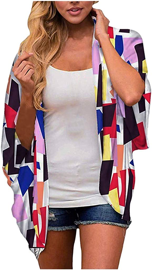 FIRERO Floral Kimono Cardigan Light Chiffon Loose Half Sleeve Shawl Chiffon Cardigans for Womens