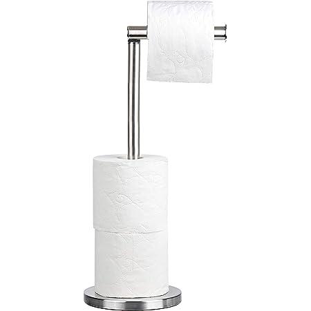 Tatkraft Kiara Porte-Rouleau pour Papier Toilette en Acier INOX sur Pied, Idéal pour 4 Rouleaux de Papier Hygiénique, Entretien Facile, Inoxydable, 15x42 cm