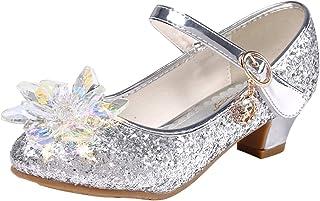 premium selection 89922 fa81e Eleasica Fille Cristal Fleur Chaussures de Princesse Reine des Neiges Elsa  Anna Talons Plats Paillettes Déguisement