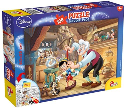 Lisciani Giochi- Pinocchio Disney Puzzle Doppia Faccia Plus, 108 Pezzi, Multicolore, 48014