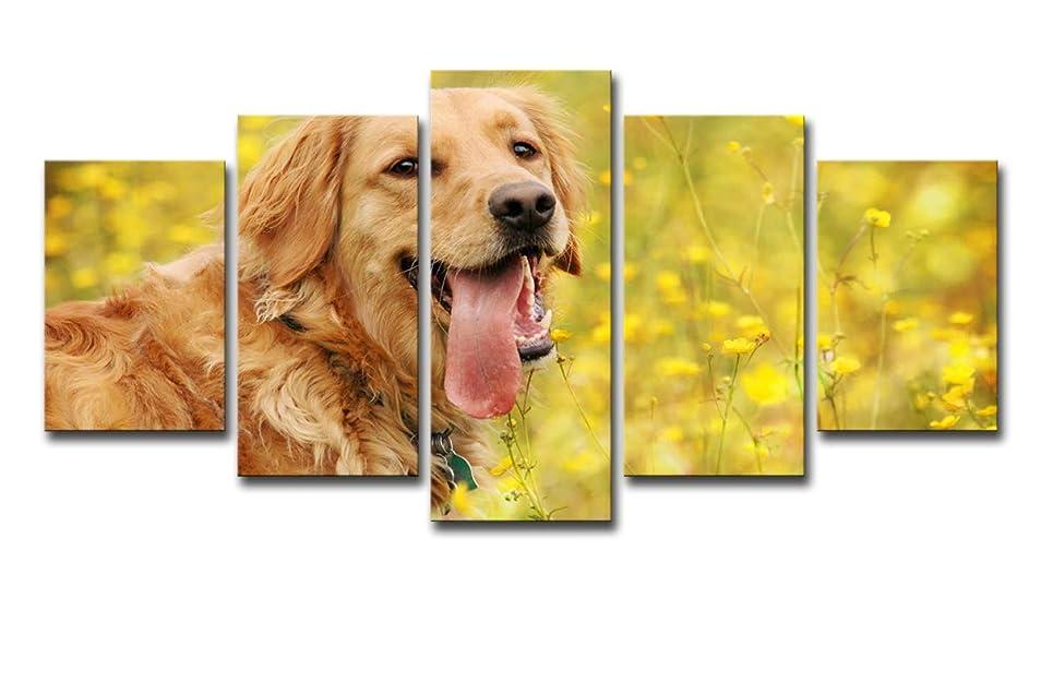 活性化着飾る電子レンジMytinaart モダンウォールアート キャンバス絵画 ホームデコ 5ピース かわいいゴールデンレトリバー ポスター HDプリント 動物犬 写真 リビングルーム 12x18inch-2P 12x24inch-2P 12x30inch-1P