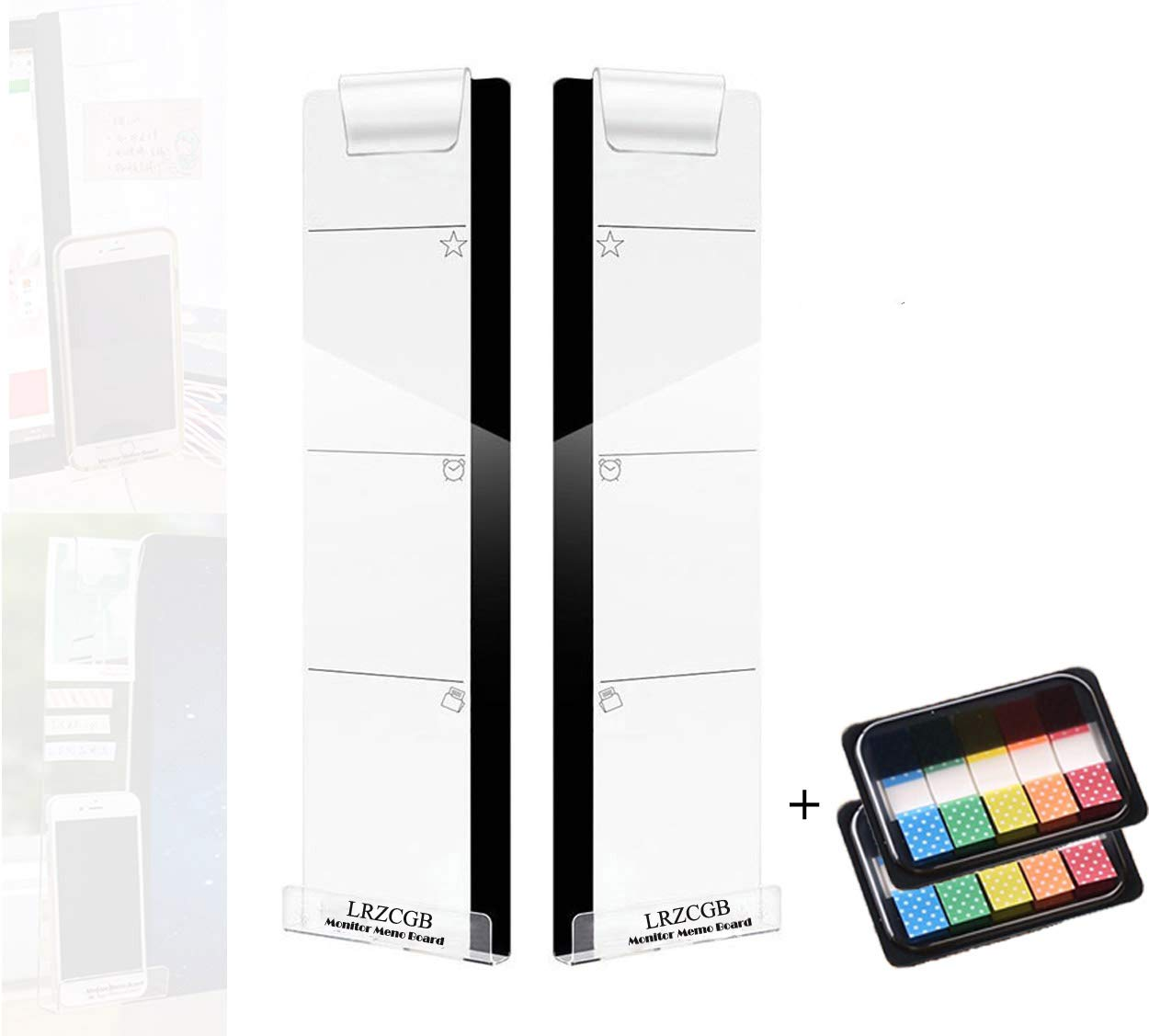 Colored Index Tabs Monitor Memo Board,3 Pcs Acrylic Message Memo Boards Note Pad Phone Holder Left /& Right /&Bottom Computer Monitors Screen Side Panel Sticky Reminder with Sticky Notes