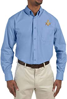 Square & Compass Embroidered Masonic Men's Poplin Button Down Dress Shirt