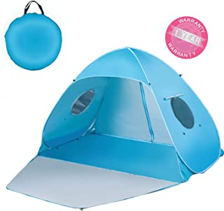 Extra Large Beach Tent Sun Shade Shelter Pop Up Instant Portable Outdoors 3-4 Person Beach Cabana Sets Up in Seconds, Blue, 78.7