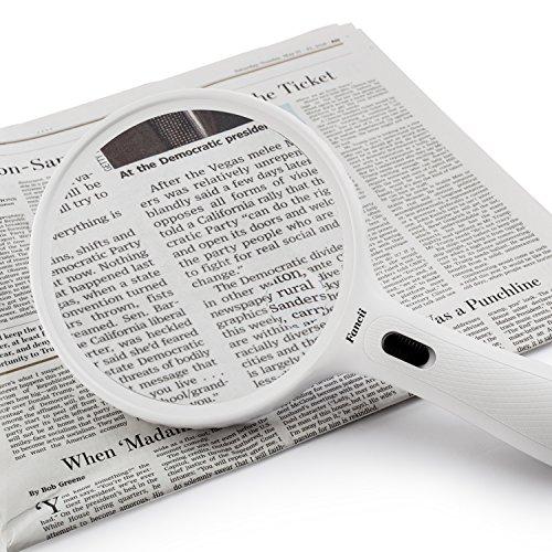 Fancii große Leselupe Lupe mit LED Licht und 2-fach 3,5-fach Vergrößerung – Grosse 138mm Beleuchtet Handlupe für Senioren zum Lesen - 7