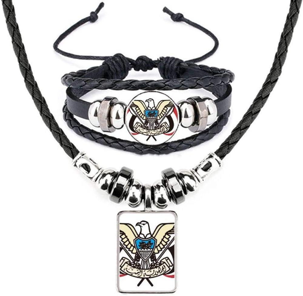 Yemen National Emblem Country Leather Necklace Bracelet Jewelry Set