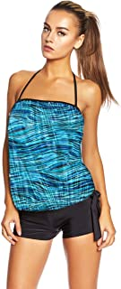 Octopus Oversize Women's Bandeau Tankini Set with Slip, Hotpants or High Waist f5466