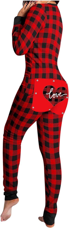 Bodysuit for Women Jumpsuit,Bodycon Rompers Pajamas Homewear Plaid Heart Print Back Flap Buttoned Long Sleeve Bodysuits
