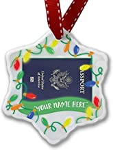 Diuangfoong Personalized Name Christmas Ornament, American Passport/ID Card U.S