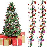 WILLBOND 9 Feet Multicolored Christmas Ornament Christmas Bulb Ball Garland Hanging Ball Baubles Colorful Christmas Garland Colorful Ornament Balls for Christmas Tree Fireplace Wreath Decor