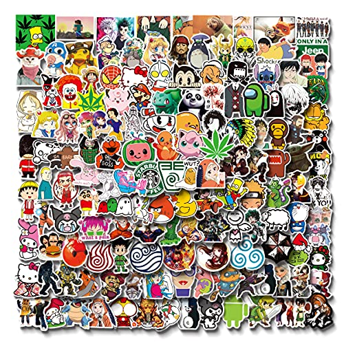 Anime and Cool Stickers Mixed Pack  200 PCS  Stickers for Adults,Car,Laptop,Stickers for Teens,Water Bottle Stickers,Skateboard,Kawaii Stickers for Water Bottles Decals,Bumper,Cute Vinyl Stickers