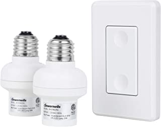DEWENWILS Remote Control Light Socket, 1 Wall Mounted Switch and 2 Bulb Base, No Wiring Required, Wireless Light Switch and Receiver Set, Expandable, ETL Listed, White