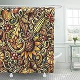 JOOCAR Design Duschvorhang, Herbst-Cartoon-Kritzeleien, Herbstmotiv, bunt, detailliert, wasserdicht, Stoffstoff, Badezimmer-Dekor-Set mit Haken