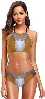 Low Poly Aoudad Skull Women Two Piece Swimsuit Off Shoulder Bikini Set