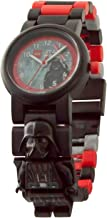 LEGO Star Wars 8021018 Darth Vader Kids Buildable Watch with Link Bracelet and Minifigure   Black/red   Plastic   28mm case Diameter  Analog Quartz   boy Girl   Official