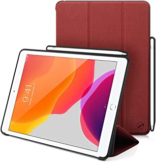 Maxace Case for iPad 10.2 2019, with Apple Pencil Holder, Slim Lightweight Trifold Stand Case + Auto Wake/Sleep Smart Cover for Apple iPad 10.2 Inch 2019 Release - Red