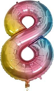 DIWULI, gigantescos Globos de número XXL, número 8, Globos iridiscentes de Arco Iris, Globos de número, Globos de Papel de Aluminio número no años, Globos de Papel de Aluminio para el 8º cumpleaños