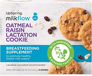 UpSpring Milkflow Lactation Cookies, Oatmeal Raisin Lactation Supplement, with Fenugreek and Blessed Thistle for Lactation Support, 10 Breastfeeding Cookies Servings