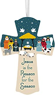 Wooden Jesus is The Reason Starlight Nativity Hanging Wall Cross with Ribbon Hanger, 6 Inch