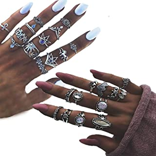 Vintage Women Mid Ring Set, 25 PCS Knuckle Ring Set Finger Ring Set Turkish Arrow Moon Turquoise Joint Knuckle Nail Midi Ring Mother's Day Gifts