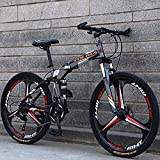 Bicicleta de montaña Plegable suspensión Doble para Hombres y Mujeres Bicicleta con Ruedas de 26 Pulgadas, Marco de Acero de Alto Carbono, Freno de Disco de Acero,Gris,26IN