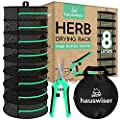 8 Layers Herbs Drying Rack - Mesh Hanging Harvest Basket Plant Dryer Net with Green Zipper & Garden Pruning Shears for Hydroponics Flowers and Buds