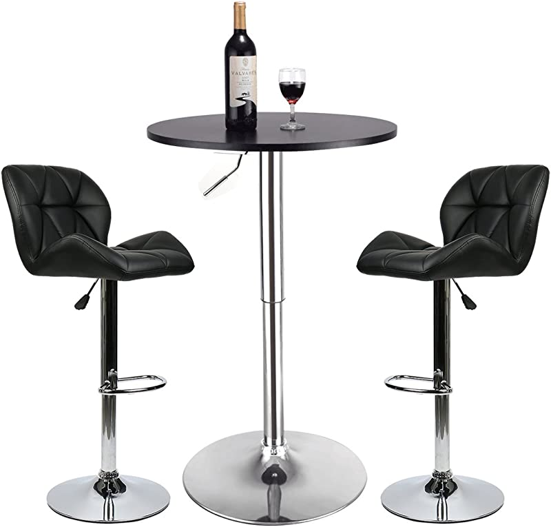Bar Table Set Of 3 Adjustable Round Table And 2 Swivel Pub Stools For Home Kitchen Bistro Bars Wine Cabinets Set 4