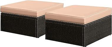KaiMeng Big Size Patio Ottoman Chair 2 Piece Wicker Furniture Sofa Supplement Footrest, Outdoor Garden Love Seat Footstool Co