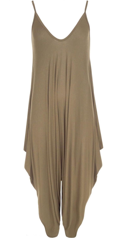 Frauen Damen Plain /ärmel Cami Baggy Strapy Body Harem Jumpsuit Playsuit Lagenlook Top-Kleid plus Gr/ö/ße XL XXL XXXL 36 38 40 42 44 46 48 50 52 54