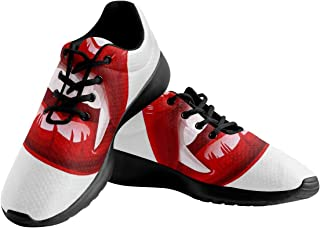 INTERESTPRINT Red Sexy Lips and Long Teeth Women's Lightweight Casual Sneakers Mesh Cloth Running Shoes US7