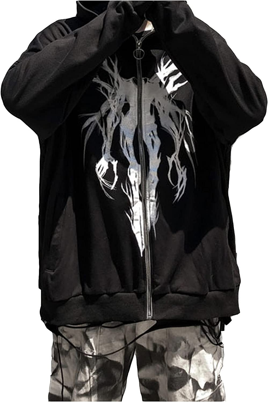 Cardigan Sweaters Women Autumn Fashion Gothic Dark Loose Print Casual Full-Sleeve Tops Hooded Coat