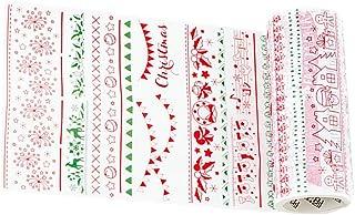 Amosfun cintas de papel de navidad washi decorativo cinta adhesiva diy manualidades scrapbook decoraciones navideñas
