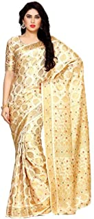 Beautiful Flower and Peacock Design Pallu Art Silk Kanjivaram Style Saree with Blouse in Color Off White/Beige
