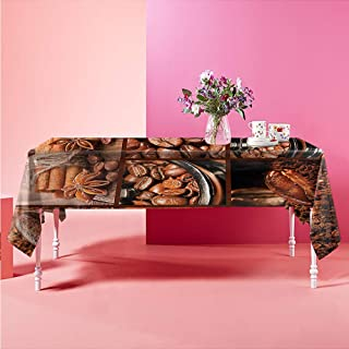 Suchashome Outdoor Picnics Brown,Antique Grinder Coffee Beans Pattern Rectangular Table Cover 52 X 70 inch
