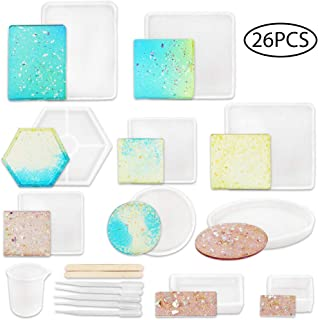 YGEOMER Silicone Resin Mold, 10pcs Square Rectangle Elliptical Round Hexagon Molds with Mixing Cups, Wood Sticks and Droppers for Resin Soap, DIY Coaster, Flower Leaf Specimen, Home Decoration