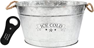 Galvanized Metal Drink Tub Features The Letters Ice Cold With Rope Handles For Easy Lifting Beverage Ice Bucket Farmhouse Style Includes Convenient Magnetic Bottle Opener