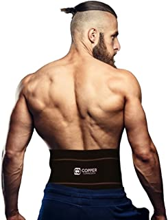 Copper Compression Recovery Back Brace - Highest Copper Content with Infused Fit. Back Braces for Lower Back Pain Relief. Lumbar Waist Support Belt for Men + Women. Size L-XL Fits Waist 39